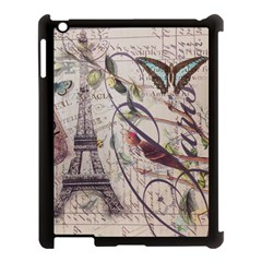 Paris Eiffel Tower Vintage Bird Butterfly French Botanical Art Apple iPad 3/4 Case (Black)