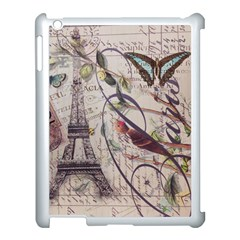 Paris Eiffel Tower Vintage Bird Butterfly French Botanical Art Apple Ipad 3/4 Case (white)