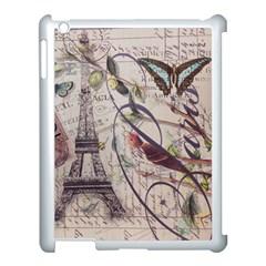 Paris Eiffel Tower Vintage Bird Butterfly French Botanical Art Apple iPad 3/4 Case (White)