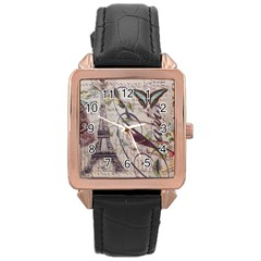 Paris Eiffel Tower Vintage Bird Butterfly French Botanical Art Rose Gold Leather Watch