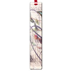 Paris Eiffel Tower Vintage Bird Butterfly French Botanical Art Large Bookmark