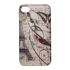 Paris Eiffel Tower Vintage Bird Butterfly French Botanical Art Apple Iphone 4/4s Hardshell Case With Stand