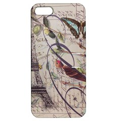 Paris Eiffel Tower Vintage Bird Butterfly French Botanical Art Apple iPhone 5 Hardshell Case with Stand
