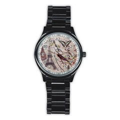 Paris Eiffel Tower Vintage Bird Butterfly French Botanical Art Sport Metal Watch (black)