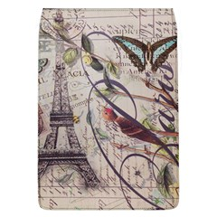 Paris Eiffel Tower Vintage Bird Butterfly French Botanical Art Removable Flap Cover (large)