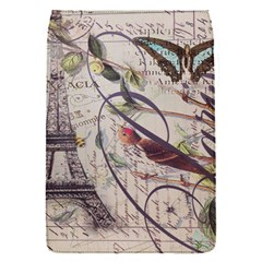 Paris Eiffel Tower Vintage Bird Butterfly French Botanical Art Removable Flap Cover (Small)