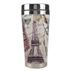 Paris Eiffel Tower Vintage Bird Butterfly French Botanical Art Stainless Steel Travel Tumbler