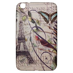 Paris Eiffel Tower Vintage Bird Butterfly French Botanical Art Samsung Galaxy Tab 3 (8 ) T3100 Hardshell Case