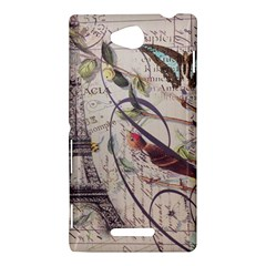 Paris Eiffel Tower Vintage Bird Butterfly French Botanical Art Sony Xperia C (S39h) Hardshell Case