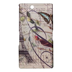 Paris Eiffel Tower Vintage Bird Butterfly French Botanical Art Sony Xperia XL39h (Xperia Z Ultra) Hardshell Case