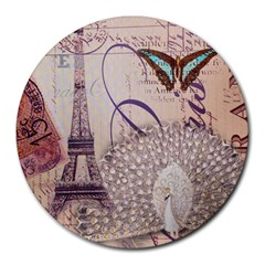 White Peacock Paris Eiffel Tower Vintage Bird Butterfly French Botanical Art 8  Mouse Pad (Round)