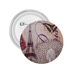 White Peacock Paris Eiffel Tower Vintage Bird Butterfly French Botanical Art 2.25  Button