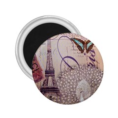 White Peacock Paris Eiffel Tower Vintage Bird Butterfly French Botanical Art 2.25  Button Magnet