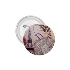 White Peacock Paris Eiffel Tower Vintage Bird Butterfly French Botanical Art 1.75  Button