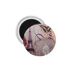 White Peacock Paris Eiffel Tower Vintage Bird Butterfly French Botanical Art 1 75  Button Magnet