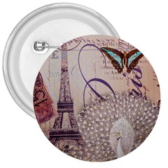 White Peacock Paris Eiffel Tower Vintage Bird Butterfly French Botanical Art 3  Button