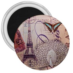 White Peacock Paris Eiffel Tower Vintage Bird Butterfly French Botanical Art 3  Button Magnet
