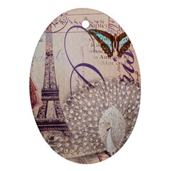 White Peacock Paris Eiffel Tower Vintage Bird Butterfly French Botanical Art Oval Ornament