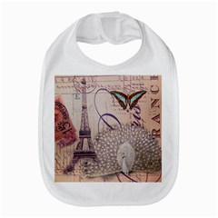 White Peacock Paris Eiffel Tower Vintage Bird Butterfly French Botanical Art Bib