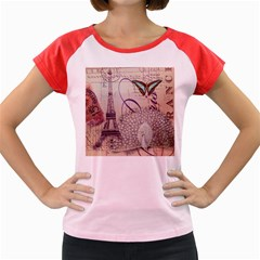White Peacock Paris Eiffel Tower Vintage Bird Butterfly French Botanical Art Women s Cap Sleeve T-Shirt (Colored)