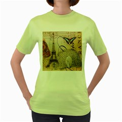 White Peacock Paris Eiffel Tower Vintage Bird Butterfly French Botanical Art Womens  T-shirt (Green)