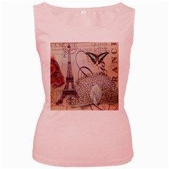White Peacock Paris Eiffel Tower Vintage Bird Butterfly French Botanical Art Womens  Tank Top (Pink)
