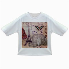 White Peacock Paris Eiffel Tower Vintage Bird Butterfly French Botanical Art Baby T Shirt