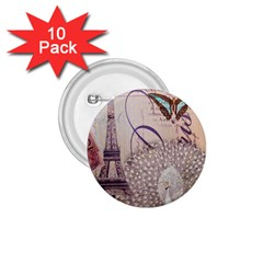 White Peacock Paris Eiffel Tower Vintage Bird Butterfly French Botanical Art 1 75  Button (10 Pack)
