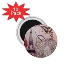 White Peacock Paris Eiffel Tower Vintage Bird Butterfly French Botanical Art 1.75  Button Magnet (10 pack)