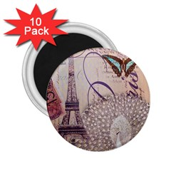 White Peacock Paris Eiffel Tower Vintage Bird Butterfly French Botanical Art 2.25  Button Magnet (10 pack)