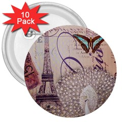 White Peacock Paris Eiffel Tower Vintage Bird Butterfly French Botanical Art 3  Button (10 pack)