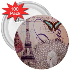 White Peacock Paris Eiffel Tower Vintage Bird Butterfly French Botanical Art 3  Button (100 Pack)