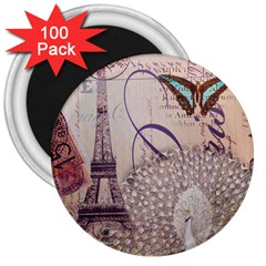 White Peacock Paris Eiffel Tower Vintage Bird Butterfly French Botanical Art 3  Button Magnet (100 pack)
