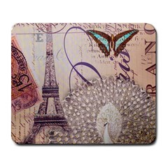 White Peacock Paris Eiffel Tower Vintage Bird Butterfly French Botanical Art Large Mouse Pad (Rectangle)