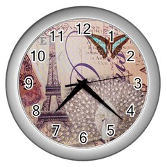 White Peacock Paris Eiffel Tower Vintage Bird Butterfly French Botanical Art Wall Clock (silver)