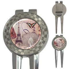 White Peacock Paris Eiffel Tower Vintage Bird Butterfly French Botanical Art Golf Pitchfork & Ball Marker