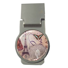 White Peacock Paris Eiffel Tower Vintage Bird Butterfly French Botanical Art Money Clip (round)