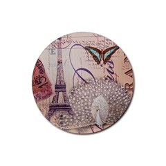 White Peacock Paris Eiffel Tower Vintage Bird Butterfly French Botanical Art Drink Coaster (Round)