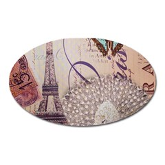 White Peacock Paris Eiffel Tower Vintage Bird Butterfly French Botanical Art Magnet (Oval)