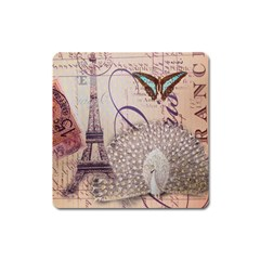 White Peacock Paris Eiffel Tower Vintage Bird Butterfly French Botanical Art Magnet (square)