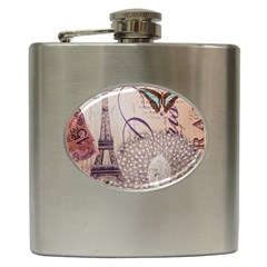 White Peacock Paris Eiffel Tower Vintage Bird Butterfly French Botanical Art Hip Flask