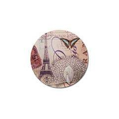 White Peacock Paris Eiffel Tower Vintage Bird Butterfly French Botanical Art Golf Ball Marker