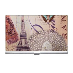 White Peacock Paris Eiffel Tower Vintage Bird Butterfly French Botanical Art Business Card Holder