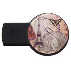 White Peacock Paris Eiffel Tower Vintage Bird Butterfly French Botanical Art 2gb Usb Flash Drive (round)