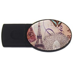 White Peacock Paris Eiffel Tower Vintage Bird Butterfly French Botanical Art 1GB USB Flash Drive (Oval)