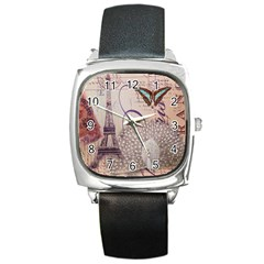 White Peacock Paris Eiffel Tower Vintage Bird Butterfly French Botanical Art Square Leather Watch