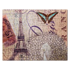 White Peacock Paris Eiffel Tower Vintage Bird Butterfly French Botanical Art Jigsaw Puzzle (rectangle)
