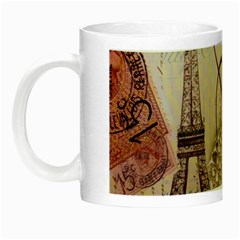 White Peacock Paris Eiffel Tower Vintage Bird Butterfly French Botanical Art Glow in the Dark Mug