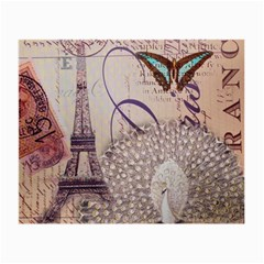 White Peacock Paris Eiffel Tower Vintage Bird Butterfly French Botanical Art Glasses Cloth (Small)