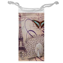 White Peacock Paris Eiffel Tower Vintage Bird Butterfly French Botanical Art Jewelry Bag